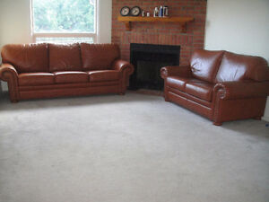 """Classic """"Raw-Hide"""" 100% Leather Sofa Set, Paid Over $6000"""