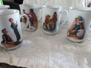 Assorted vintage  Norman Rockwell  coffee mugs.
