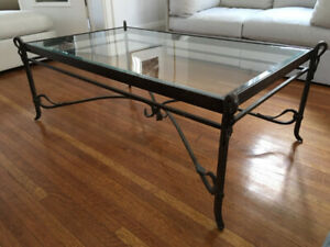 Wrought Iron and glass coffee table, one-of-a-kind