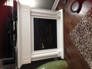 white electric fireplace /corner unit or can be straight across