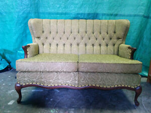 Lime Greenish Antique Settee - Delivery Available