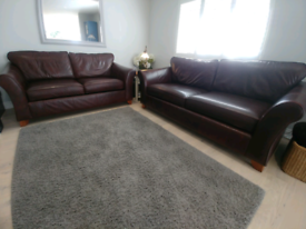 Marks & Spencer Brown Leather 2 X Sofas and Footstool.