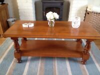 Large solid wood chunky coffee table with shelf underneath
