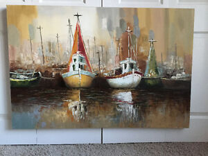 Boats (Oil on Canvas) Painting