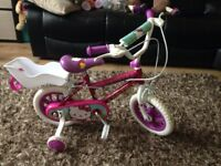 "Girls 12"" Hello Kitty bike with stabilisers"