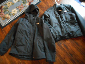 north face jacket size med ladies with zip out lining
