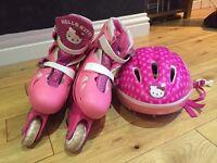 Hello kitty inline skates and helmet
