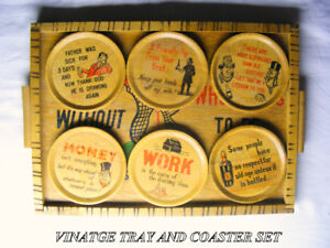 Vintage 50s Drinkers wood tray 6 wood coasters - happy services