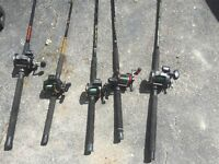 5 downrigging poles and reals , downriggers. cannon balls plus