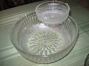 glass punch bowl with 12 cups-also chip and dip bowl Peterborough Peterborough Area image 1