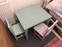 Children's hand painted table and 2 chairs