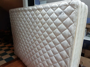 Queen Pillow top mattress with box spring and bedframe