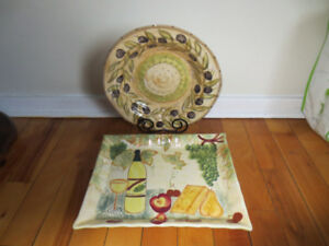 Ceramic Pasta Bowl and Cheese/Cracker Serving Tray