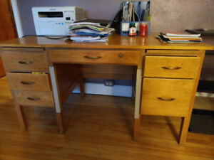 Hardwood office desks with drawers, 2 nos.