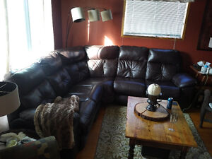 Dark brown leather reclining sectional