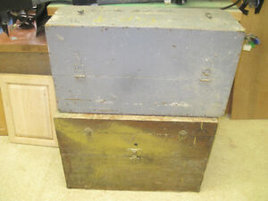 Two tool chests as table bases