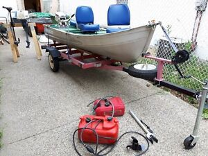 12' aluminum boat with trailer, 15hp & 5hp