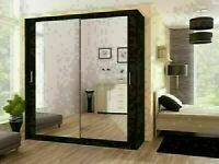 BRAND NEW BERLIN 2 DOOR SLIDING WARDROBE FULL MIRROR -EXPRESS DELIVERY