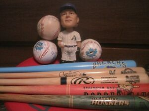 Collectible bats, signed balls and a bobblehead
