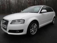 09/09 AUDI A3 1.6 SPORTBACK IN WHITE WITH FULL RED LEATHER AND ONLY 45,000 MILES