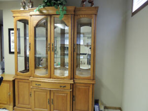 2 Piece Oak China Cabinet