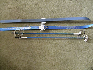 Childs Waxless cross country skis and poles