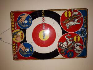 Vintage tin Marx lone ranger target, enseigne 1939,Pepsi,Coke,e