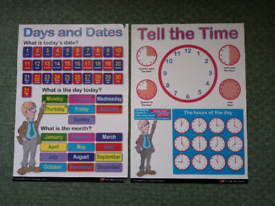 Learning Days and Dates, Tell the Time posters