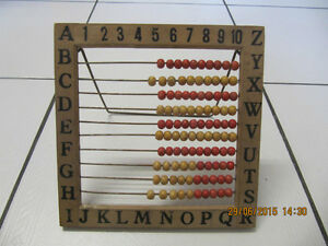 Vintage Childrens Wooden Alphabet/Numeric Abacus Circa 1920-40s