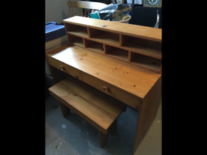 Pine desk with bench