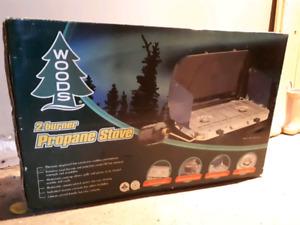 Woods 2 burner propane camp stove NEW