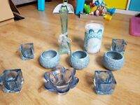Next teal accessories - candle holders, candle & vase