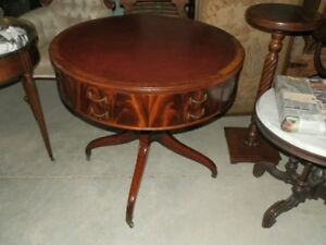 RARE ANTIQUE  MAHOGANY  DRUM GAMES TABLE WITH LEATHER TOP
