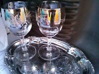 Wine glass and silver platter