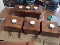Hand made oak candle holders