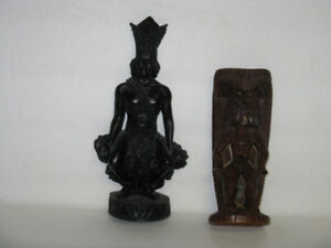 2 DIFFERENT OLD HAWAIIAN TIKI STATUES FIGURES