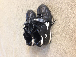 Children soccer cleats and shin guards