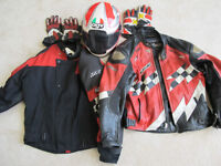Genuine Kawasaki his and hers jackets/gloves and 1 helmet