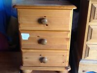 SOLID PINE BEDSIDE CUPBOARD 3 DRAWERS NEEDS TLC