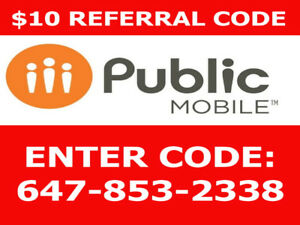 FREE $10 Public mobile credit 647-853-2338 publicmobile