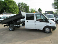 2014 Ford Transit 350 125bhp Double Crew Cab Steel Body Dropside Tipper White
