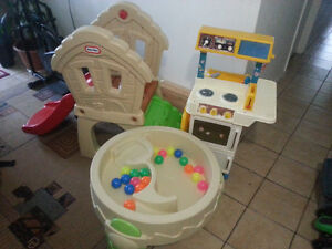 Daycare Items: F&P Kitchen, Step2®BusyBallPlayTable,Climb&Slide