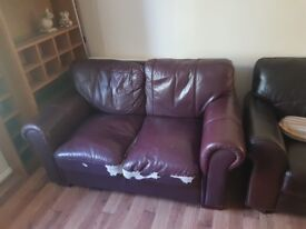 2 seat leather sofa - could do with a throw over or to be reupholstered £300 new now £30!