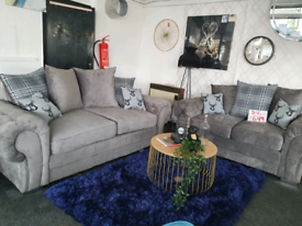 NEW Kingston Grey 3 + 2 seater Sofa Suite DELIVERY AVAILABLE