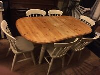 Shabby chic off white extendable farmhouse table & 6 chairs