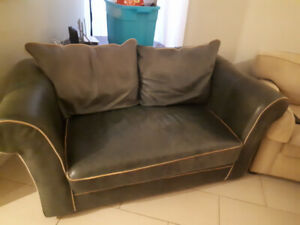 Green Leather Loveseat