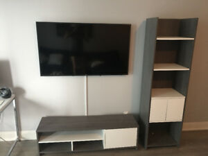 Nearly New Wayfair Media Stand and Matching book shelf.