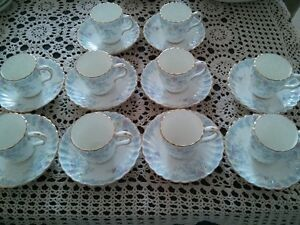 Set of 9 Demitasse teacups and saucers Minton Garden Pinks
