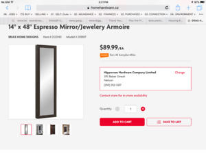 HANGING JEWELRY ARMOIRE/MIRROR