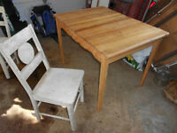 Old Refinished Table and 4 unfinished Chairs